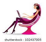 woman in a modern chair with a... | Shutterstock .eps vector #102437005