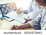 doctor consulting with patient...   Shutterstock . vector #1024373641
