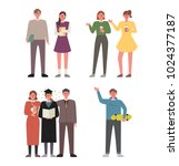various character about campus... | Shutterstock .eps vector #1024377187