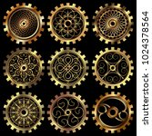 vector golden gears set in the... | Shutterstock .eps vector #1024378564