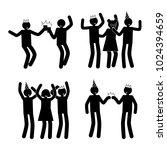 celebration poses set of black... | Shutterstock .eps vector #1024394659