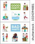 good and bad habits  poster set ... | Shutterstock .eps vector #1024394881