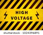 high voltage warning plate  old ... | Shutterstock .eps vector #1024396891