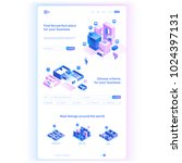 Find commercial real estate for your business. Choose criteria for office. Isometric vector illustration with buildings. Landing page concept | Shutterstock vector #1024397131