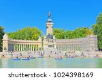 Small photo of Madrid, Spain -June 06, 2017 : Grand Retreat Pond (Estanque Grande del Retiro) in Buen Retiro Park-most largest and most beautiful of the Madrid parks.