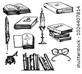 old library vector set  books ... | Shutterstock .eps vector #1024407814