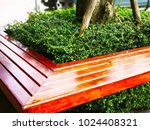 The Brown Wooden Bench Was...