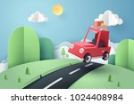 paper art of red car jumping on ... | Shutterstock .eps vector #1024408984