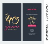 40 years anniversary invitation ... | Shutterstock .eps vector #1024410964