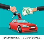 hand giving car keys to another ... | Shutterstock .eps vector #1024419961