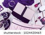 pink handbag and black stiletto ...   Shutterstock . vector #1024420465