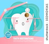 tooth with decay problem on the ... | Shutterstock .eps vector #1024424161