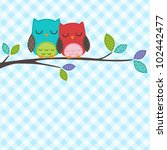 Stock vector vector backgrounds with couple of owls on the branch 102442477