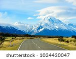on the way road to mount cook... | Shutterstock . vector #1024430047