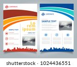 brochure template blue and red... | Shutterstock .eps vector #1024436551