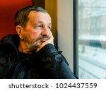 Bearded Old Man In Train Near...