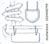 sketch set of arrows and empty... | Shutterstock .eps vector #1024440799