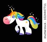 white unicorn with rainbow mane ... | Shutterstock .eps vector #1024447711