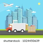 delivery van with shadow and... | Shutterstock .eps vector #1024450639