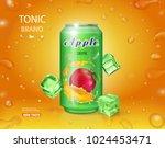 alumimium tin of apple juice.... | Shutterstock .eps vector #1024453471