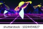 80s retro futurism space saturn   Shutterstock . vector #1024454827