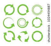 green round recycle icons set.... | Shutterstock .eps vector #1024454887