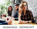 happy young friends hangout in... | Shutterstock . vector #1024461547