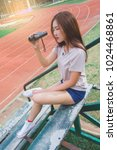 teen girl with binoculars in...   Shutterstock . vector #1024468861