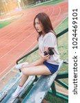 teen girl with binoculars in...   Shutterstock . vector #1024469101