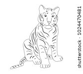 isolated sketch of a tiger... | Shutterstock . vector #1024470481