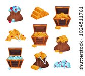 cartoon set with full bags and... | Shutterstock .eps vector #1024511761