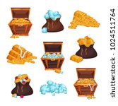 colored set with full chests... | Shutterstock .eps vector #1024511764