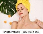 happy woman  facial treatment ... | Shutterstock . vector #1024515151