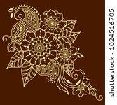 henna tattoo flower template in ... | Shutterstock .eps vector #1024516705