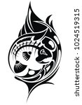 tribal tattoo with fish | Shutterstock .eps vector #1024519315