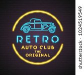 retro club neon light glowing... | Shutterstock .eps vector #1024519549