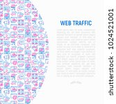 web traffic concept with thin... | Shutterstock .eps vector #1024521001