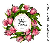 hand drawn spring floral banner.... | Shutterstock .eps vector #1024529035