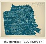 modern city map   san francisco ... | Shutterstock .eps vector #1024529167