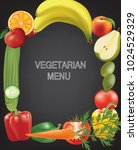 frame made from fruits and... | Shutterstock .eps vector #1024529329