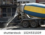 concrete mixer yellow and blue... | Shutterstock . vector #1024531039