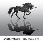 vector unicorn with black... | Shutterstock .eps vector #1024537471