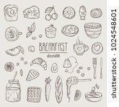 collection of doodles breakfast ... | Shutterstock .eps vector #1024548601