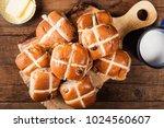 easter breakfast with hot cross ... | Shutterstock . vector #1024560607