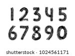 digits set hand drawn with dry...   Shutterstock .eps vector #1024561171
