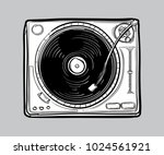 monochrome drawn turntable | Shutterstock .eps vector #1024561921