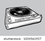 monochrome drawn turntable | Shutterstock .eps vector #1024561927