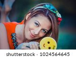 beautiful young woman lying on... | Shutterstock . vector #1024564645