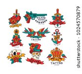colorfull tattoos in vintage... | Shutterstock .eps vector #1024570879