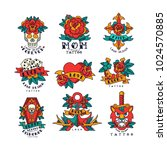 colorfull tattoos in... | Shutterstock .eps vector #1024570885